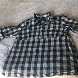 Black and grey checked tunic